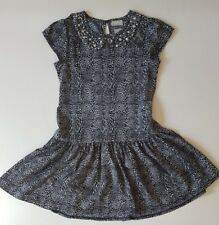 NEW GIRLS MATALAN BLACK GREY LEOPARD PRINT DIAMANTE TUNIC PARTY DRESS AGE 10 YRS