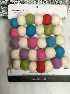 Christmas Holiday Garland Farmhouse Decor Colored Knit Gumdrops 6ft