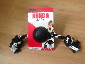 KONG BALL LARGE Dog 30-65lb  TOUGEST NATURAL RUBBBER RUG & FLOSS ROPE NEW