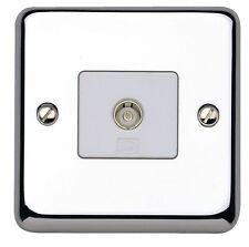 Chrome Single TV/Coaxial Socket Home Electrical Fittings