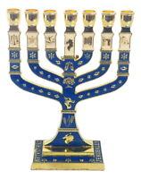 menorah, Menora holyland 7 branches Jerusalem 12 Tribes Israel Enameled blue