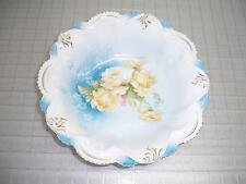 RS Prussia marked Scalloped Edge Bowl w/ White & Yellow Roses & Gold Leaf