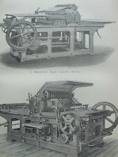 ANTIQUE PRINT C1870'S PRINTING ENGRAVING WHARFEDALE SINGLE CYLINDER MACHINE ART