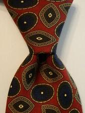 BROOKS BROTHERS Makers Men's 100% Silk Necktie Designer Geometric Burgundy/Blue