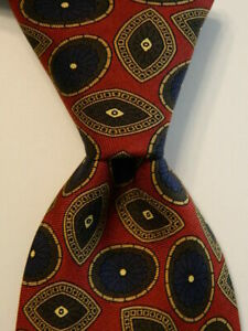 BROOKS BROTHERS Makers Men's 100% Silk Necktie Designer Geometric Burgundy/Blue