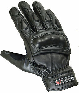 Gants de protection Moto Solide Rigide Coque Carbone Cuir Motocycle Réflective