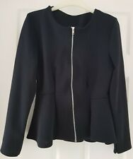 NEW LADIES ZIP UP PEPLUM FRILL TAILORED JACKET/TOP  ~  UK SIZE  10-12  ~  BLACK