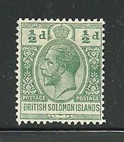 Album Treasures Solomon Islands Scott # 19  1/2p George V Mint Hinged