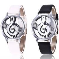 Stainless Steel Wrist Watch Charm Men Music Analog Quartz Women Leather