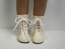 "CREAM Lace Up Boots Doll Shoes Fits 16""- 17"" Sasha (Debs)"