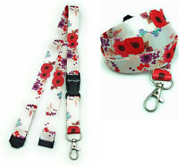 POPPIES IN WHITE Lanyard As Neck Strap Holder for keys, badge, Id card etc