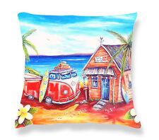 Deborah Broughton Art Throw Pillow Cushion Cover 45x45cm Surf Beach & Kombi Drop Inn