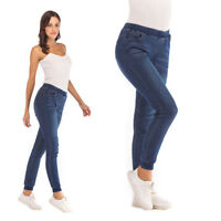 Womens Casual Elastic High Waist Stretch Skinny Jeans Pockets Denim Jogger Pants