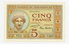 Madagascar … P-35 … 5 Francs … ND(1937) … *AU-UNC*