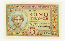 Madagascar … P-35 … 5 Francs … ND(1937) … * (~) UNC*