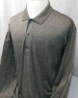 Greg Norman Double Mercerized Granite Gray Long Sleeve Golf Polo Shirt Mens XL
