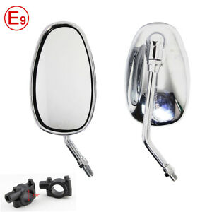 Chrome Motorcycle Mirrors+Clamps for ATV Quad Scooter Street Sport Snow Bike UK
