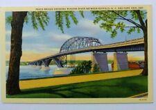 Woven linen 1937 Daytime View Peace Bridge across Niagara River, NY to Ontario