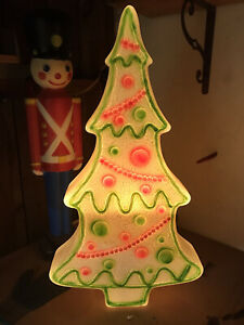 Blow Mold Plastic White Christmas Tree Red Green Icing Union Don Featherstone