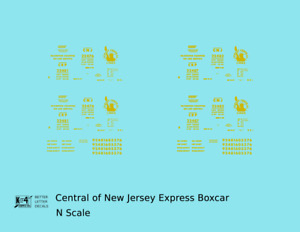 K4 N Decals Central Of New Jersey Express Boxcar Yellow