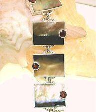 Marta Howell STER Silver Black-Lip Mother of Pearl Garnet Gemstone Bracelet #4