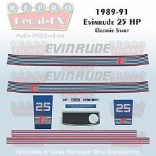 1989-91 Evinrude 25 HP Electric Start Outboard Repro 15 Piece Marine Vinyl Decal