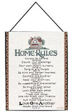 """HOME RULES Woven Tapestry with Scripture, White, 13"""" x 18"""", by Manual Weavers"""