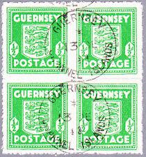 Guernsey Mi.Nr. 1 g gestempelter Viererblock, geprüft