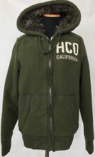 Hollister Womens Sherpa Fur Lined Hoodie Size XS Sweat Jacket Green