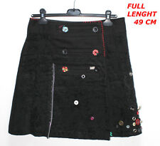 DESIGUAL  LADY SEXY WOMAN SKIRT BLACK COLOR BUTTON DESIGN MARKED SIZE 38