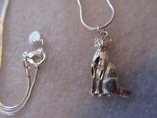 Vintage 3D Cat Sterling Silver Charm Pendant-Necklace