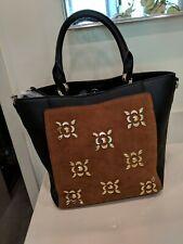 Kate Landry Women's Vale Studded Cognac Black Handbag w/ Detach Strap NWT