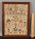 1787 Antique 18thC Folk Art Equestrian Dog Animals Trees Sampler Needlepoint NR