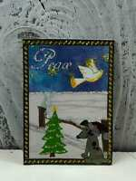 "ACEO Artist Trading Card ""Peace White Dove"" Handmade Sticker Glitter"