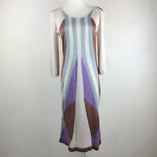 Bar III Art Deco Metallic Sweater Dress 3/4 Sleeves Fitted Size L Large NYE