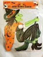 Vintage Halloween WITCH ON BROOM Embossed Die Cut Cutout Radko Shiny Brite