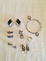 ASSORTED ANTIQUE/VINTAGE STERLING JEWELRY(5 SETS OF EARRINGS,1 BRACELET,1 RING)