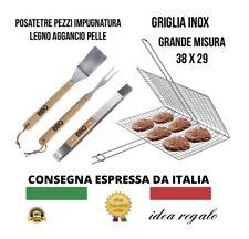 GRATICOLA Griglia acciaio inox  Barbec  GRILL Barbecue Spatola Forchettone Pinza