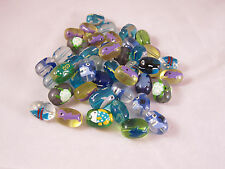 12, Shark Fish Dolphin Turtle Whale Oval Glass Beads 15mm x 12mm New