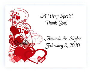 100 Personalized Custom Red Heart Hearts Border Wedding Bridal Thank You Cards
