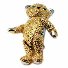 Teddy Bear Brooch --Gold Toned, Base Metal and No Stone