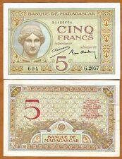 Madagascar, 5 Francs (1937), P-35, XF+ to aUNC