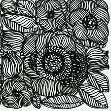 KURJENPOLVI black Marimekko floral paper lunch napkins new 20 in pack 33cm