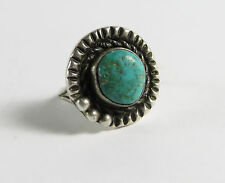 VINTAGE STERLING SILVER & TURQUOISE RING TOM WILLETO PETITE SIZE: 4