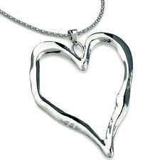 Shiny silver large open heart pendant long mirror chain necklace fashion jewelry