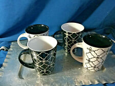 4 ASSORTED 4'' back and white geometric coffee cups MUGS BY HOME ESSENTIALS
