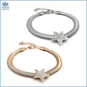 Bracciale da donna braccialetto snake con stella in acciaio inox argento zirconi