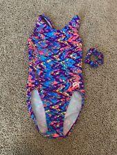 Euc Gk Elite Girls Gymnastics Leotard Purple Orange Blue Swirl Size Axs
