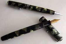 Parker Vintage Marbled Green/Black Fountain Pen, 14K Gold Nib & Pencil 1930-40s