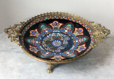 SUPERB 1900s antique JAPAN cloisonné plate with French Japonism-style fitting